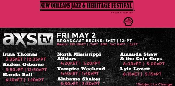 AXS TV Friday Jazz Fest Schedule & Eric Clapton Addition