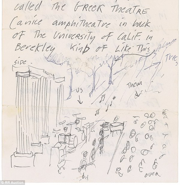 hand written pages including garcias drawings of the greek theatre in berkeley which you can see above jerry wrote the letters to a former vogue model