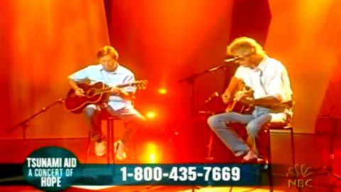 Watch Roger Waters and Eric Clapton help raise funds for victims of a  massive earthquake and tsunami with a performance on this date in 2005.