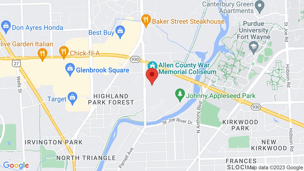 Map for Allen County War Memorial Coliseum