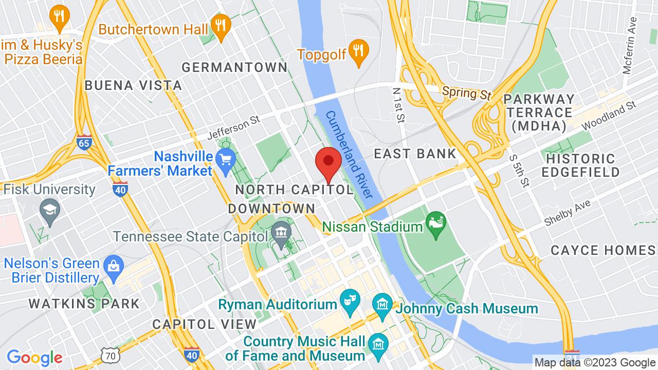 Downtown Nashville Bars Map on