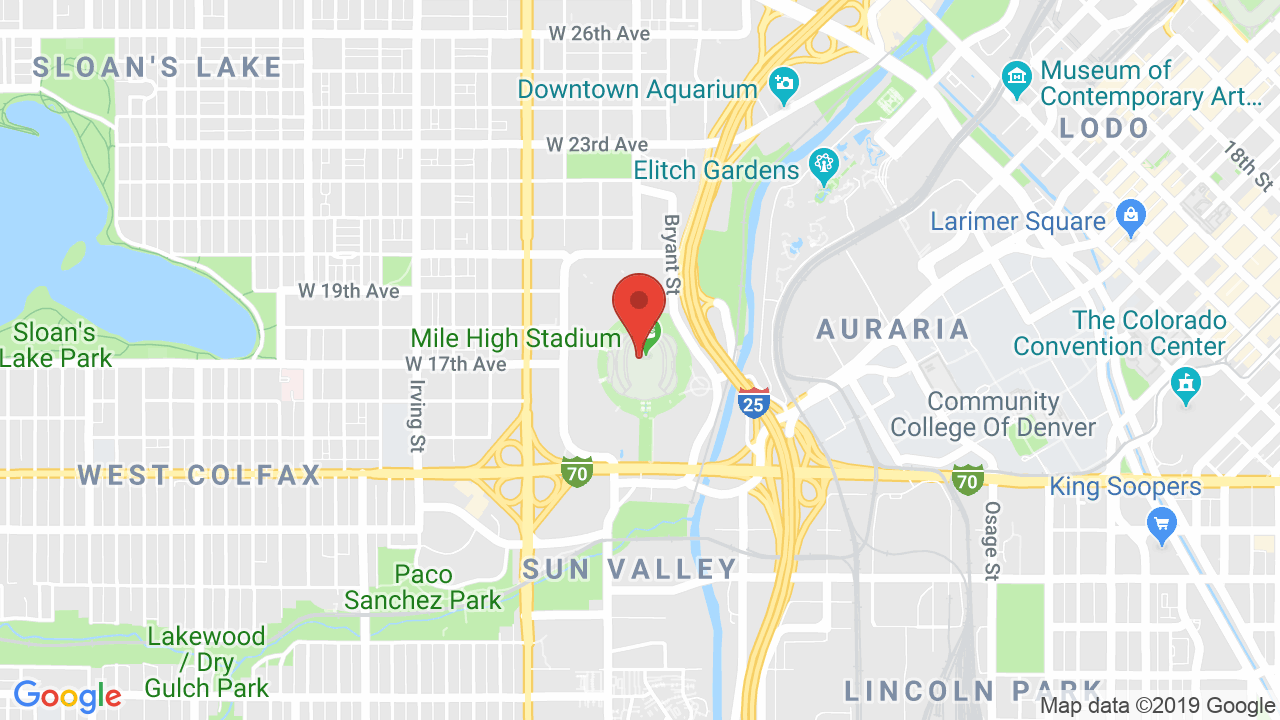 Map for Broncos Stadium at Mile High