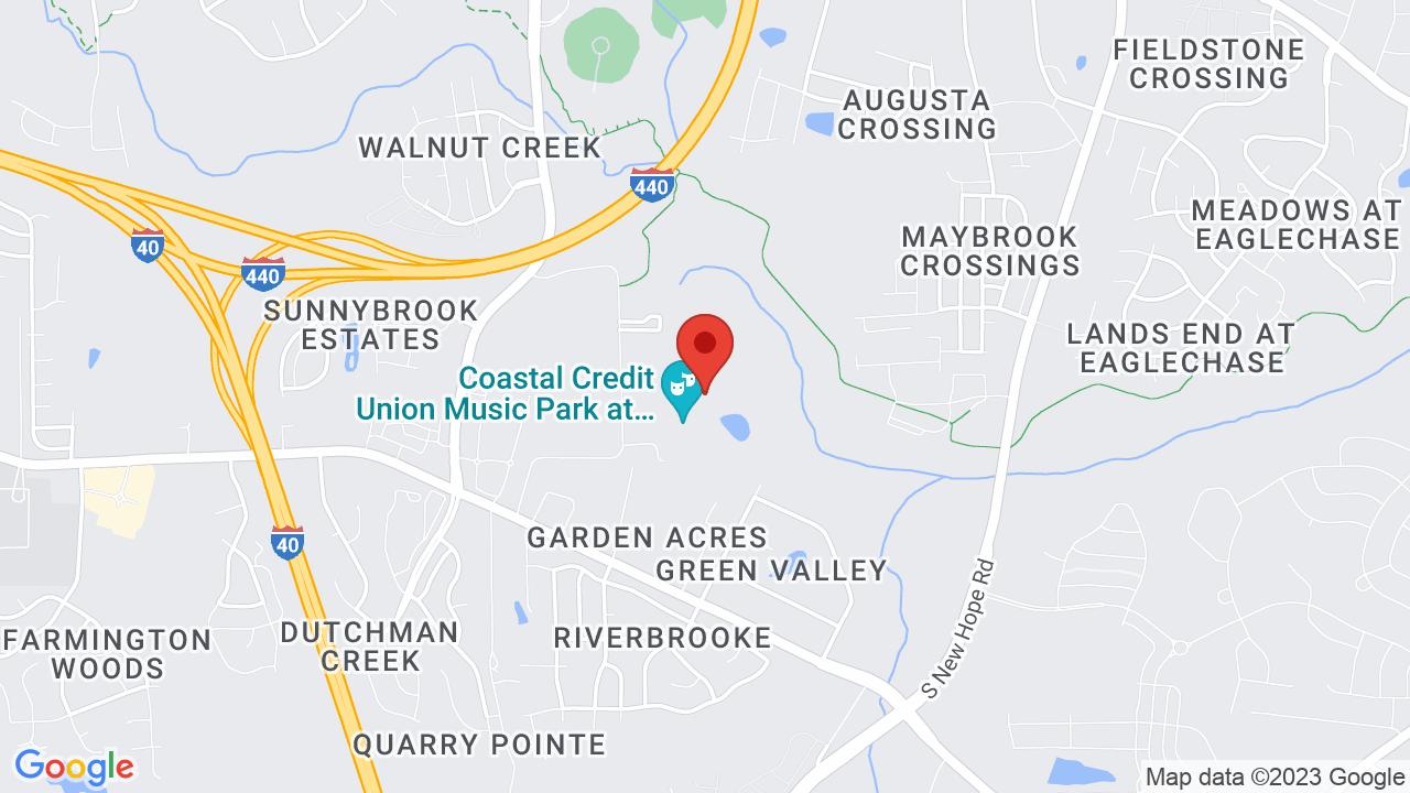 Map for Coastal Credit Union Music Park at Walnut Creek