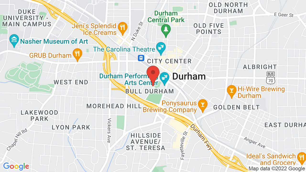 Map for Durham Performing Arts Center