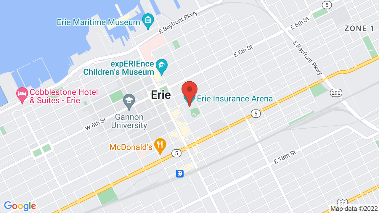Map for Erie Insurance Arena