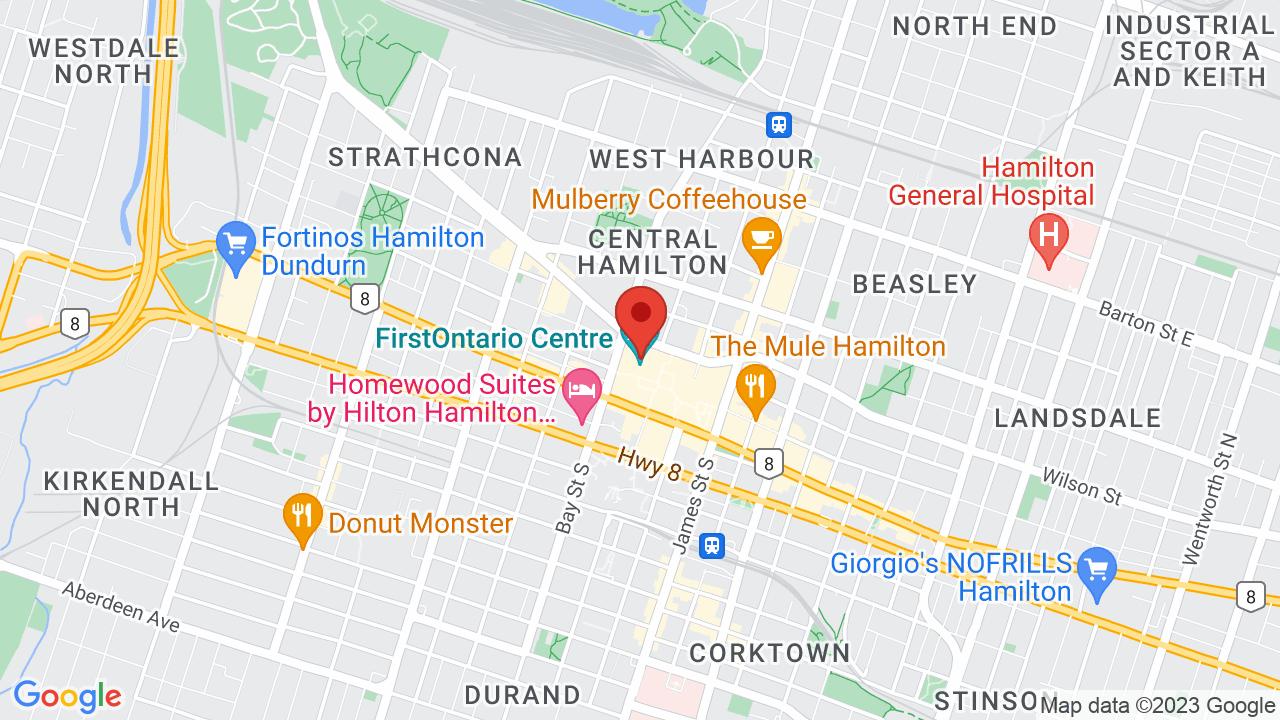 Map for FirstOntario Centre