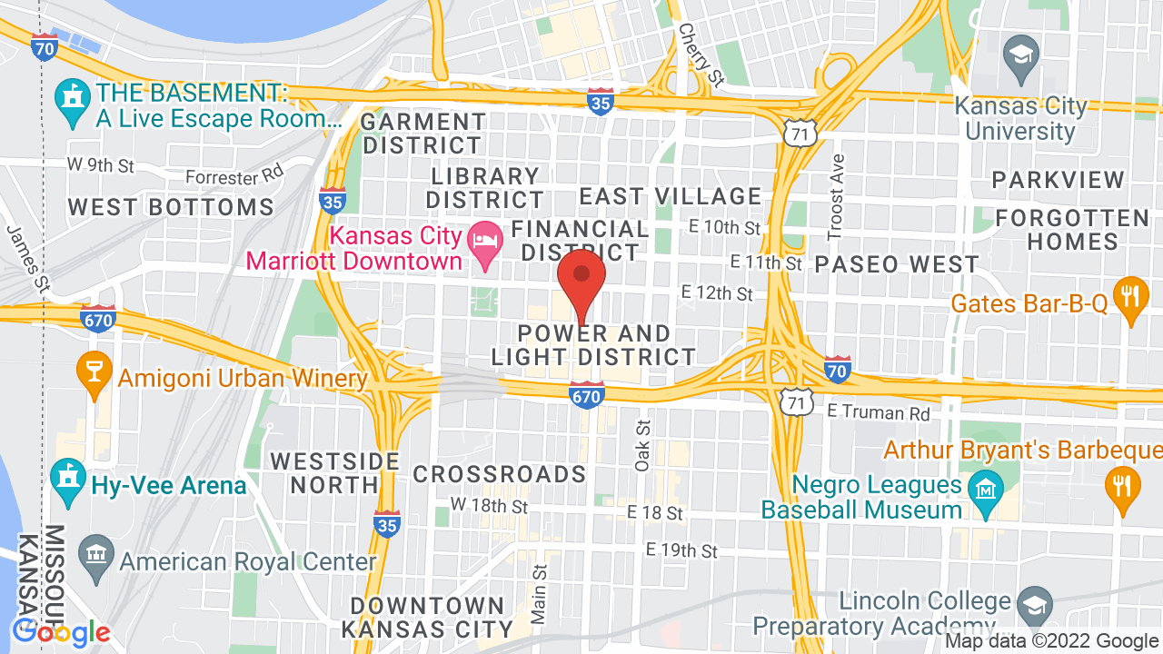 Map for KC Live! Power and Light District