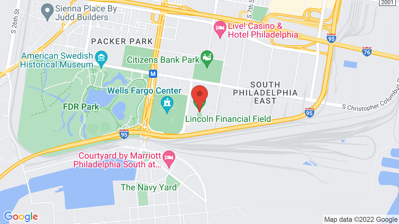 Map for Lincoln Financial Field
