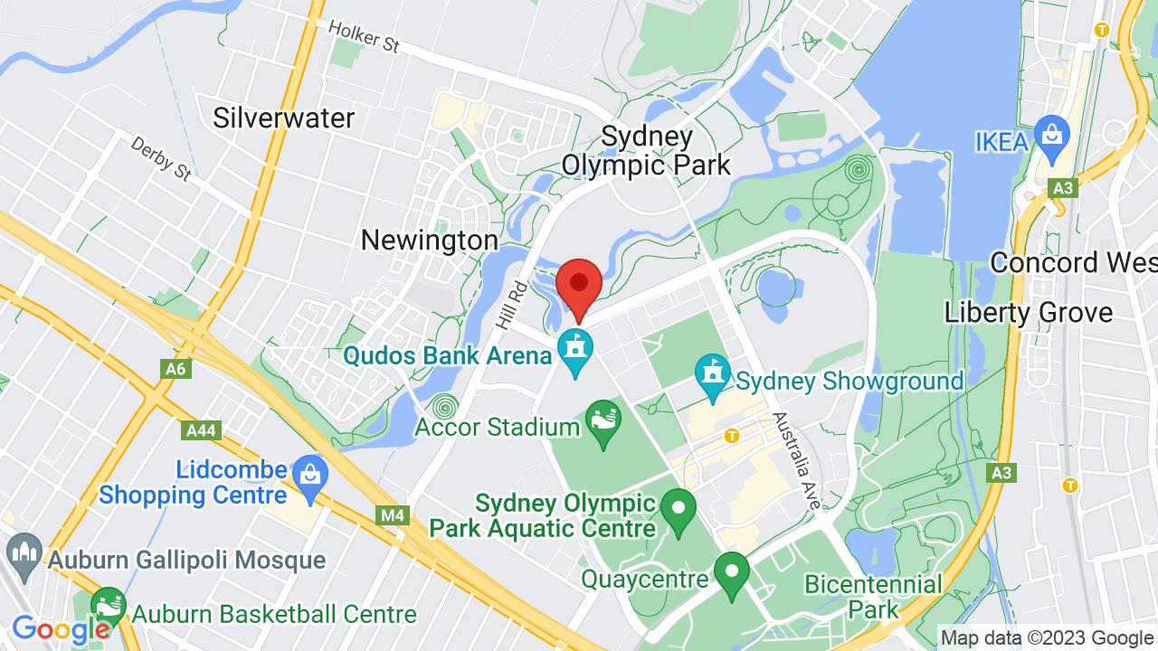Map for Qudos Bank Arena