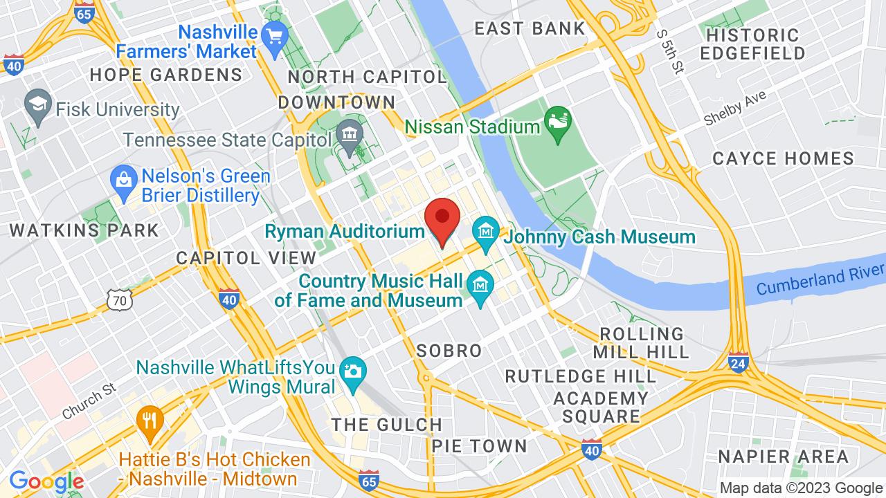 Map for Ryman Auditorium