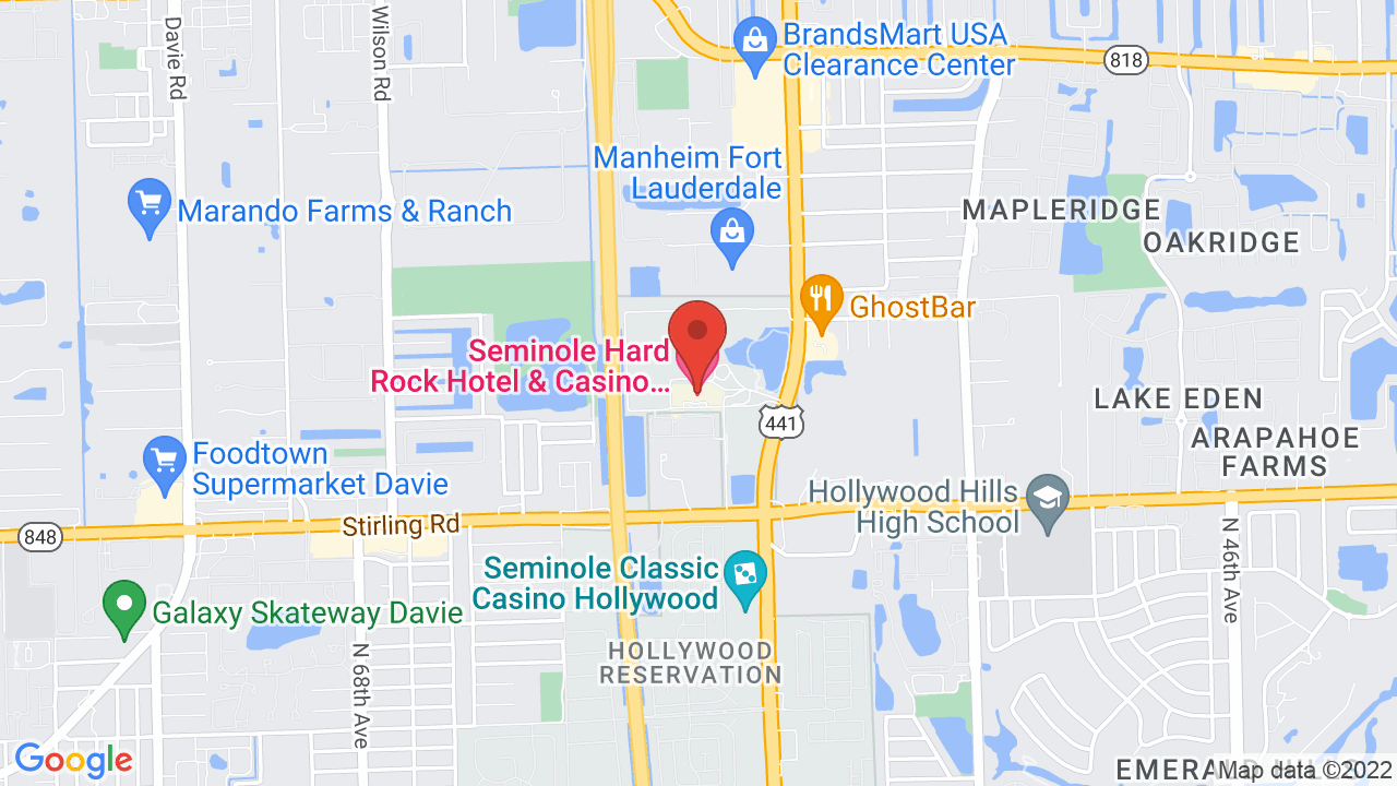 Casinos In Florida Map.Seminole Hard Rock Hotel And Casino Shows Tickets Map Directions
