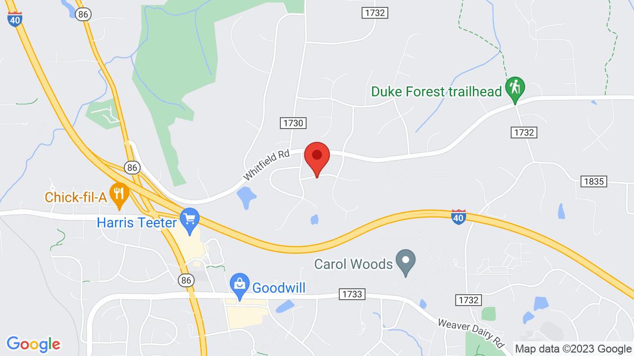 Map for University of North Carolina